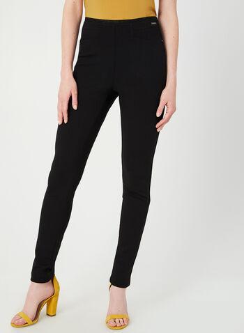 Legging à taille pull-on, Noir, hi-res,  automne hiver 2019, legging, pantalon, jambe étroite, pull-on, taille élastique, point de Rome, surpiqûres