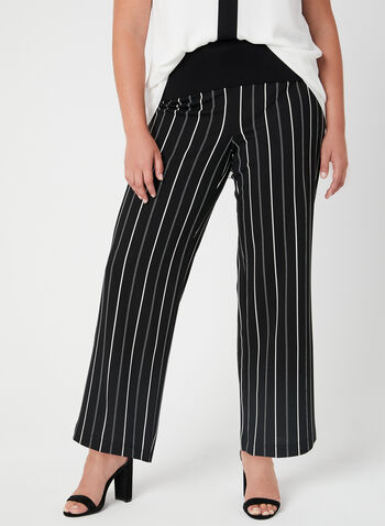 Stripe Print Wide Leg Pants, Black, hi-res,  pull-on, jersey, stretchy, elastic waist, spring 2019