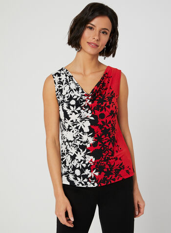 Floral Print Jersey Top, Black, hi-res,  Canada, sleeveless, jersey, floral, spring 2019, summer 2019