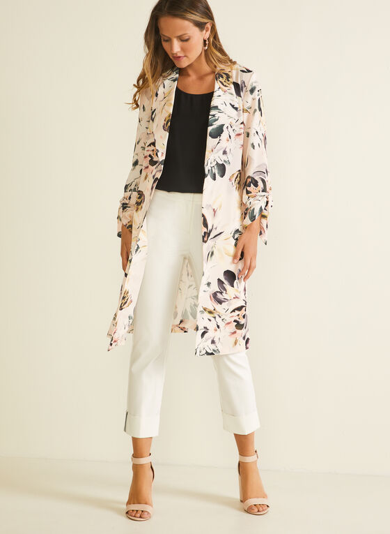 Floral Print Open Front Jacket, Purple
