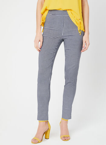 Modern Fit Gingham Pants, Blue, hi-res