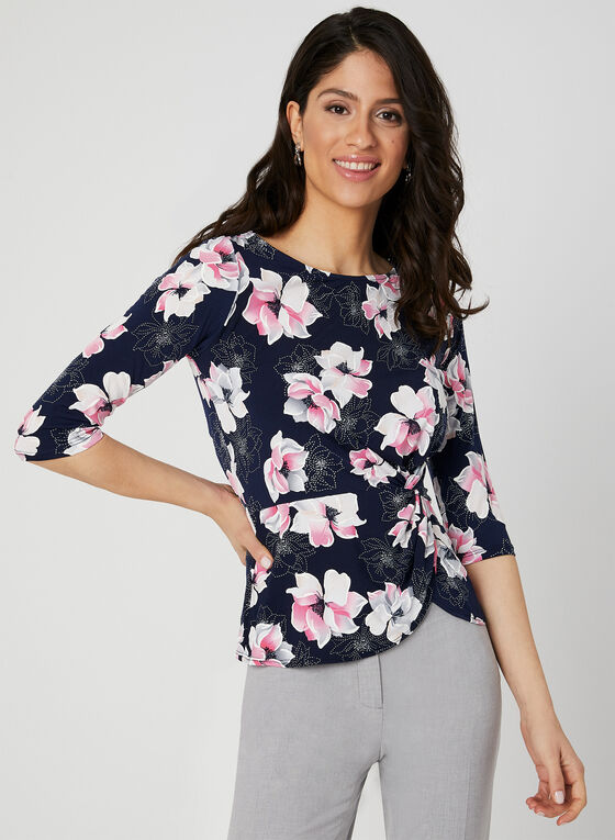 Floral Print ¾ Sleeve Top, Blue