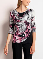 Abstract Print Drape Front Top, Grey, hi-res