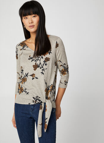 V-Neck Floral Print Top, Black,  canada, 3/4 sleeves, top, floral print, floral print top, v-neck, fall 2019, winter 2019