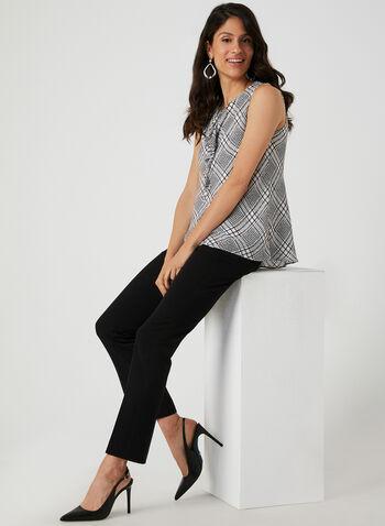 Ruffle Detail Sleeveless Top, White,  blouse, sleeveless, crepe, plaid print, ruffle, fall 2019, winter 2019
