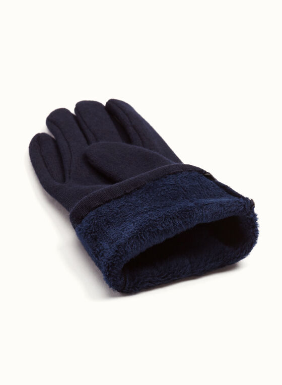Fur Pom Pom Knit Gloves, Blue, hi-res