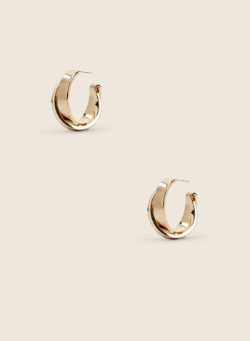 Double Ring Earrings, Gold,  earrings, metallic, golden, hoop, spring summer 2020