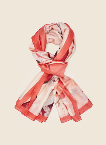 Watercolour Print Lightweight Scarf, Pink,  scarf, lightweight, floral, spring summer 2021