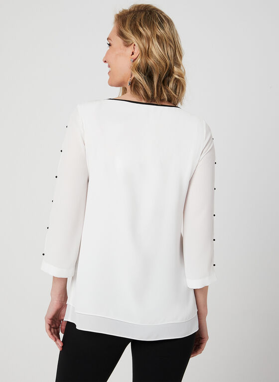 ¾ Sleeve Crepe Blouse, Off White