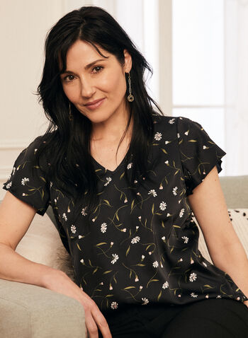 Floral Print Short Sleeve Top, Black,  spring summer 2020, short sleeves, satin fabric, floral print