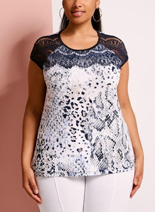 T-shirt imprimé avec dentelle, Bleu, hi-res