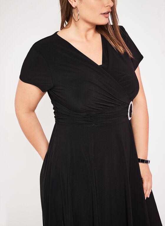 Ruched Waist Jersey Dress, Black, hi-res