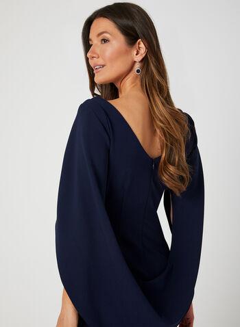 Draped Crepe Dress, Blue,  cocktail dress, draped, cape, crepe, ruching,