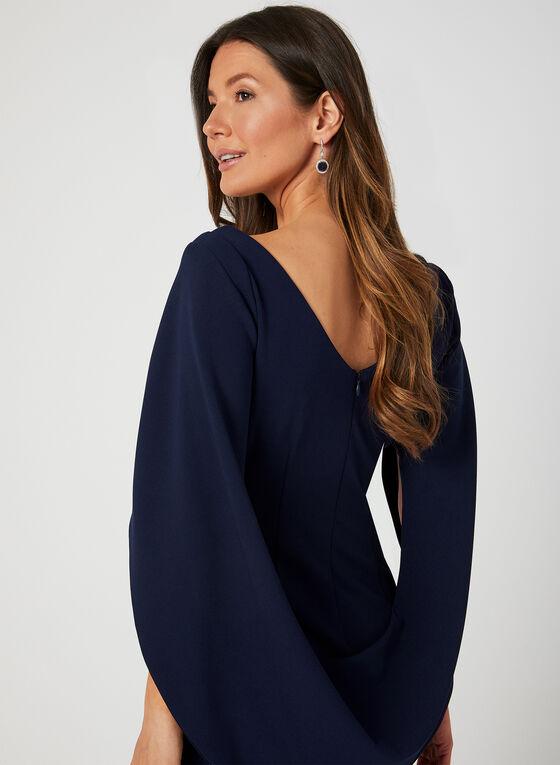Robe à drapé style cape, Bleu