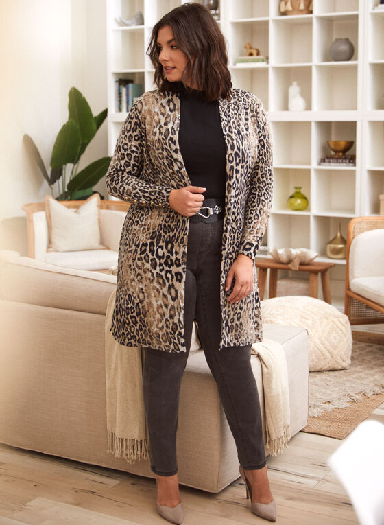 Leopard Print Cover-Up, Black