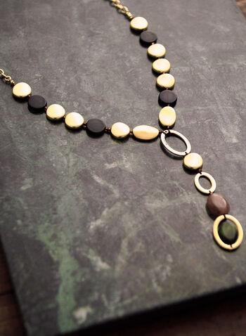 Collier en Y à pierres plates, Vert,  accessoire, bijou, collier, Y, pierres plates, couleurs variées, formes variées, ovales, chaîne, doré, printemps été 2021