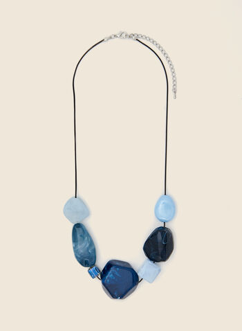 Multi-Stone Necklace, Blue,  necklace, jewellery, cord, stones, fall winter 2020