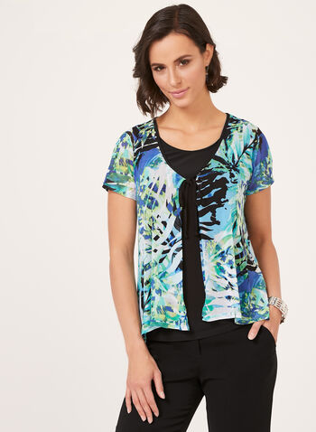 Leaf Print Fooler Blouse, Blue, hi-res
