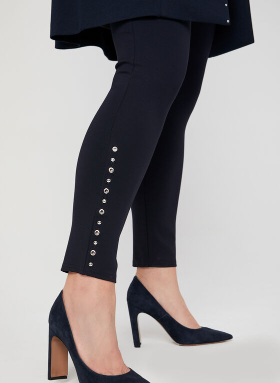 Eyelet & Stud Detail Leggings, Blue, hi-res