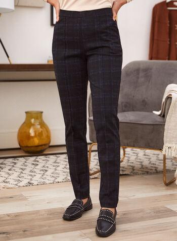 Pantalon motif de carreaux à enfiler, Bleu,  automne hiver 2020, pantalon, pull-on, taille élastique, à enfiler, jambe étroite, pinces, motif, carreaux, carreauté