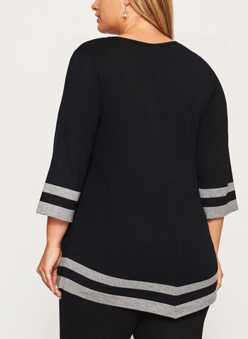 Contrast Asymmetric Knit Sweater, , hi-res