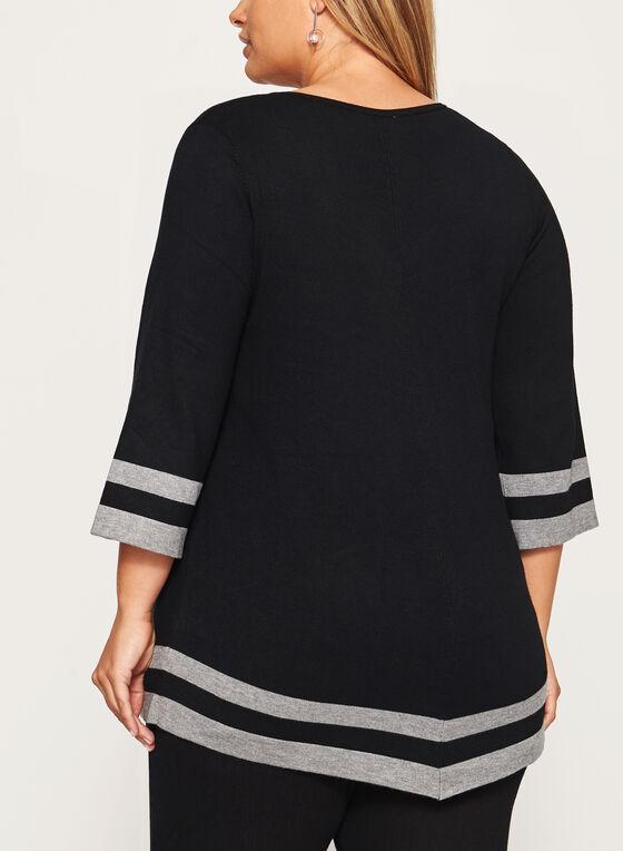 Pull tricot rayé à manches ¾ et col V, Noir, hi-res