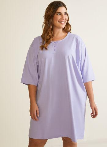 Chemise de nuit à manches coude, Bleu,  automne hiver 2020, pyjama, chemise de nuit, robe de nuit