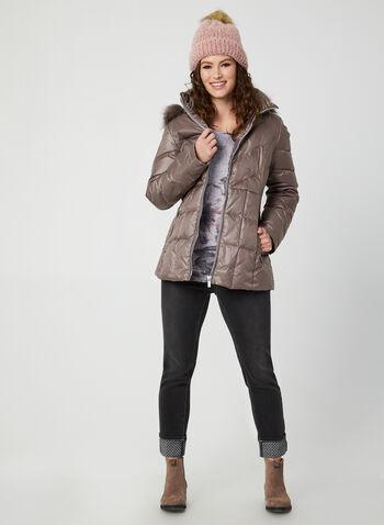 Manteau matelassé à capuchon amovible, Violet,  manteau, matelassé, duvet, plumes, capuchon, fausse fourrure, automne hiver 2019