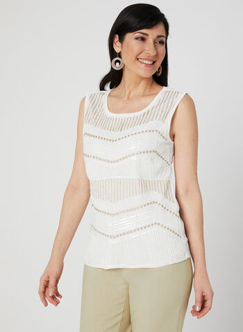 Ness - Sleeveless Bead Detail Top, White, hi-res