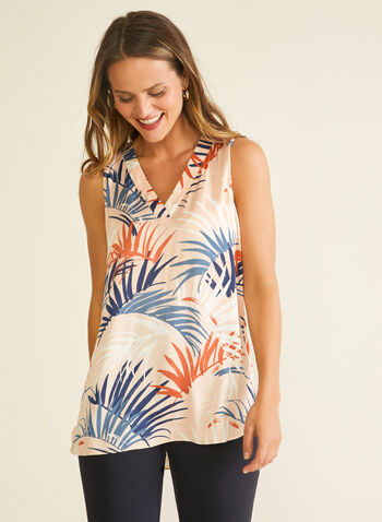 Blouse sans manches motif tropical, Multi,  blouse, sans manches, tropical, col v, printemps été 2020