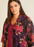 Floral Print Open Front Tunic, Black
