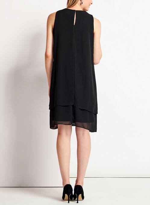 Chiffon Cutout Pearl Trim Dress, Black, hi-res