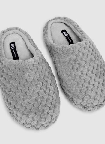 Wavy Plush Slippers, Green,  slippers, slip-on, plush, fall 2019, winter 2019