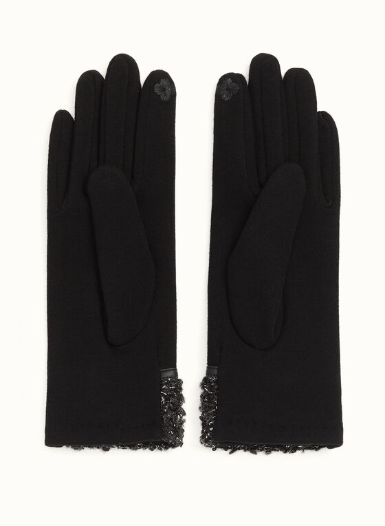 Leather Trim Bouclé Gloves, Black, hi-res