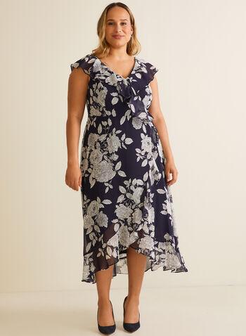 Robe fleurie faux portefeuille, Bleu,  robe de jour, portefeuille, volants, mousseline, fleurs, printemps été 2020
