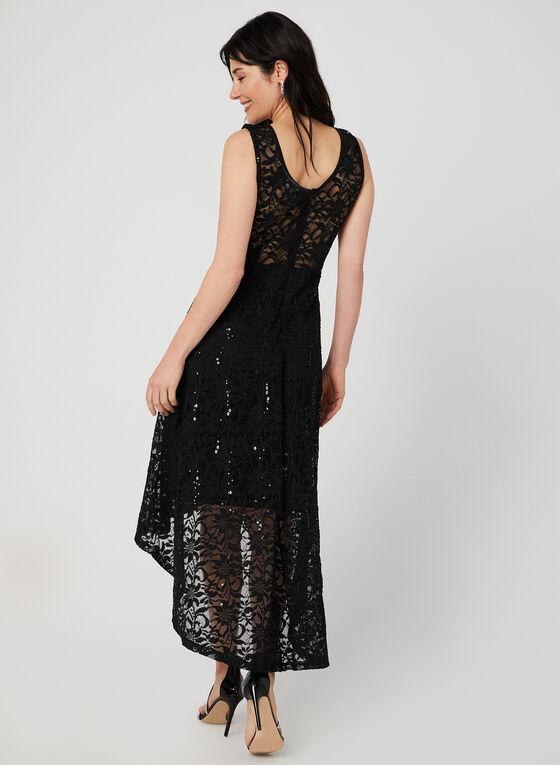 Robe asymétrique en dentelle, Noir, hi-res