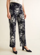 Pantalon coupe moderne à fleurs, Bleu