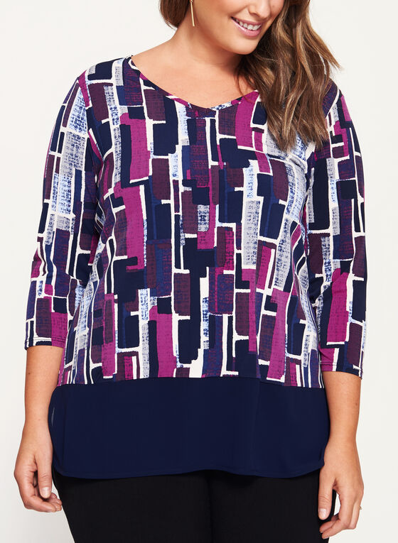 Geometric Print Chiffon Detail Top, Multi, hi-res