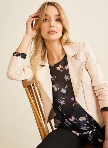 Vex - Blazer en faux cuir et détails zips, Rose,  blazer, faux cuir, faux suède, zips, manches longues, épaulettes, printemps été 2020