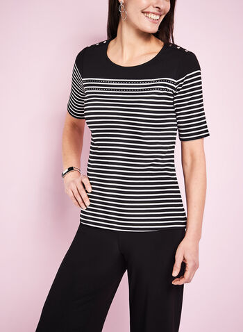 Stripe Print T-Shirt, , hi-res