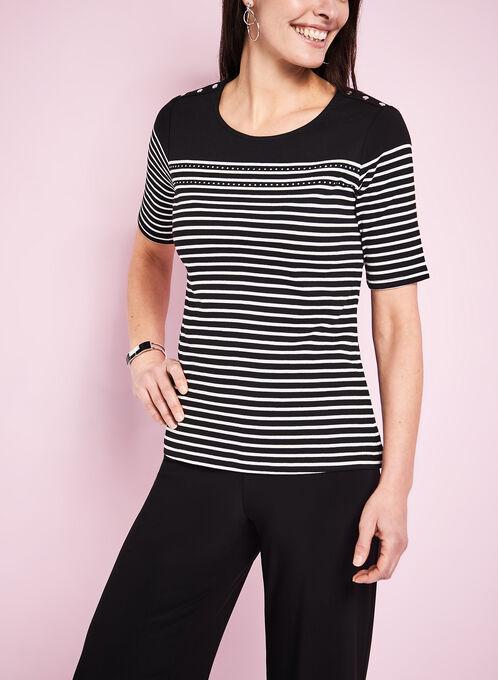 T-shirt coton à rayures et boutons épaules, Noir, hi-res