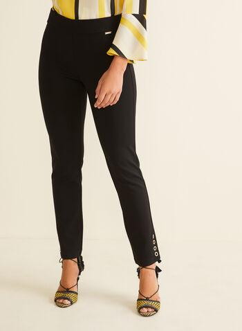 City Fit Elastic Waist Pants, Black,  pants, slim leg, city fit, elastic waist, ponte de roma, rhinestones, stretchy, spring summer 2020