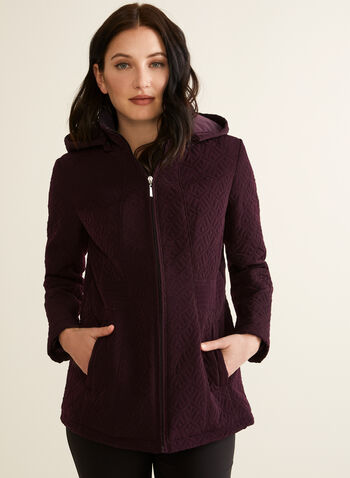 Chevron Quilted Coat, Purple,  spring summer 2020, stand collar, front zipper closure, chevron quilt, lightweight