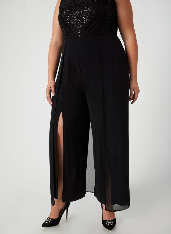 Jumpsuit With Lace & Sequins, Black