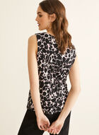 Abstract Print Chain Detail Top, Black