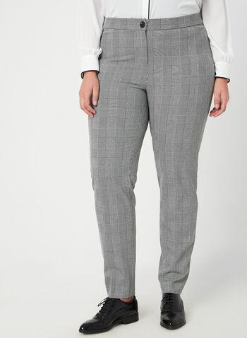 Pantalon coupe cité motif Prince-de-Galles, Noir, hi-res,  pantalon, coupe cité, jambe droite, princes-de-galles, pinces, automne hiver 2019