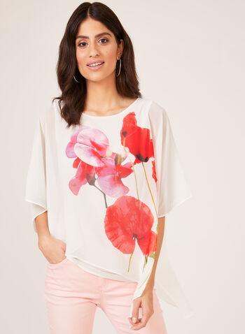 Floral Print Asymmetric Poncho Blouse , White, hi-res