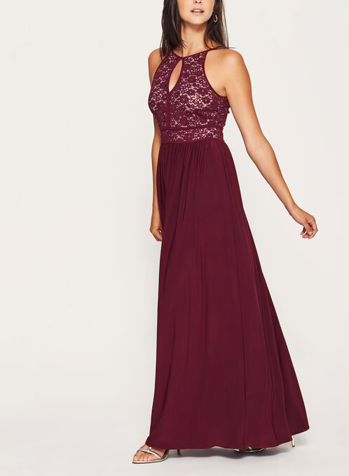 Glitter Lace and Sequin Halter Dress, Red, hi-res