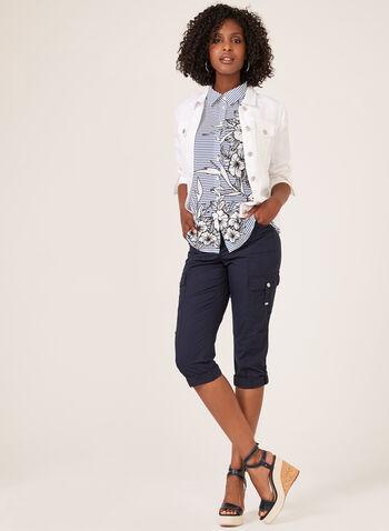 Ness – Sleeveless Stripe Floral Print Blouse, White, hi-res
