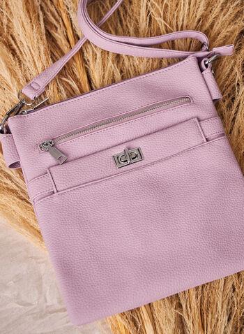 Turnlock Detail Crossbody Bag, Purple,  bag, handbag, purse, crossbody, strap, removable, turnlock, zipper, spring summer 2021